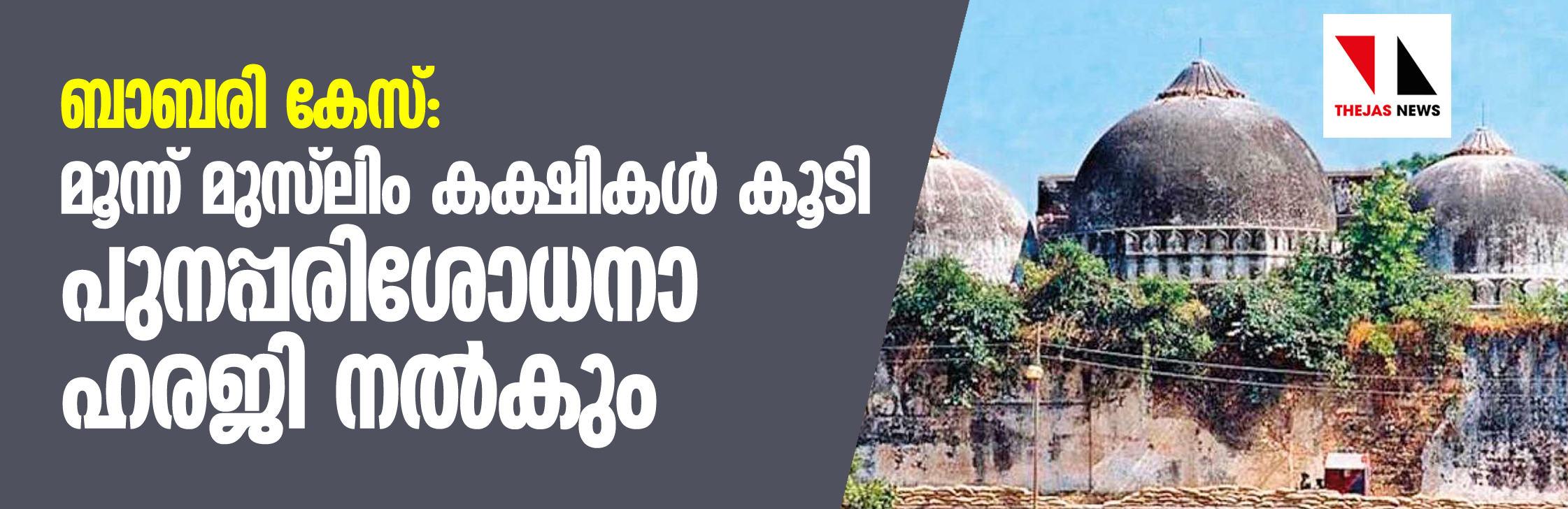 ബാബരി കേസ്: മൂന്ന് മുസ്ലിം കക്ഷികള് കൂടി പുനപ്പരിശോധനാ ഹരജി നല്കും