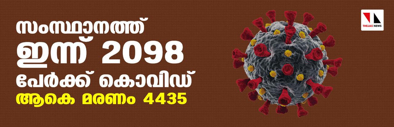 സംസ്ഥാനത്ത് ഇന്ന് 2098 പേര്ക്ക് കൊവിഡ്; ആകെ മരണം 4435